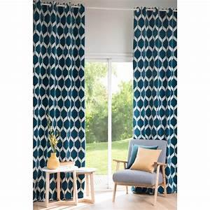 Rideau Jaune Et Bleu : rideau motifs bleu canard 140x300cm aston maisons du monde ~ Teatrodelosmanantiales.com Idées de Décoration