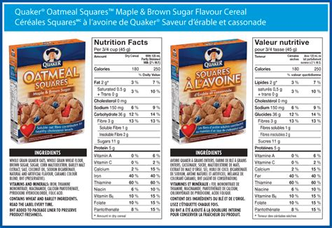 QUAKER OATMEAL NUTRITION LABEL Images Frompo