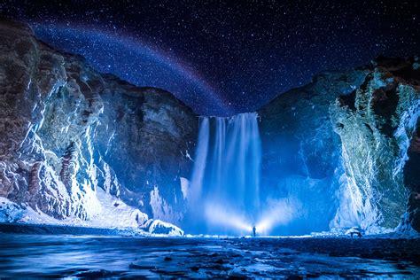 Wallpaper Iceland Skogafoss Water Landscape Waterfall Nature Starry Night Astronomy