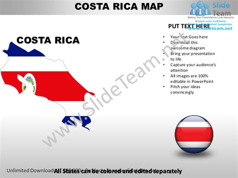 Costa Rica Map Template by Editable Costa Rica Power Point Map With Capital And Flag