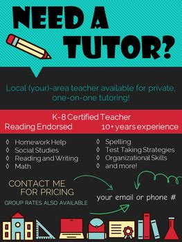tutoring flyer editable poster  peachlily teach tpt