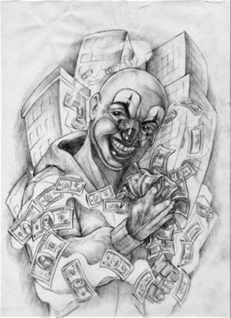 Grey Ink Clown And Money Tattoo Design