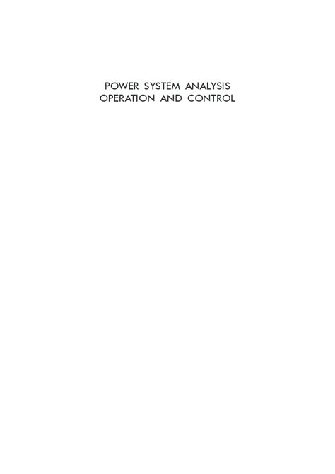 Download Power System Analysis: Operation And Control by