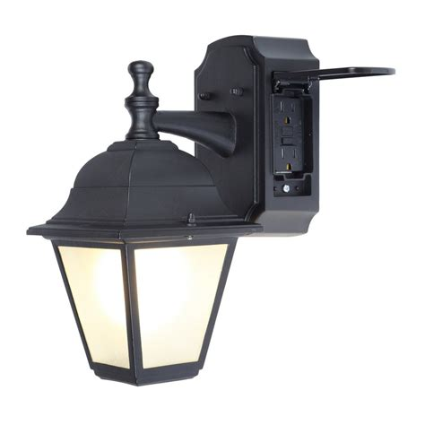 wall mounted heating and cooling shop portfolio gfci 11 81 in h black outdoor wall light at