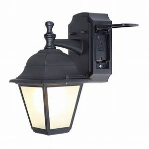 Portfolio gfci in h black outdoor wall light at