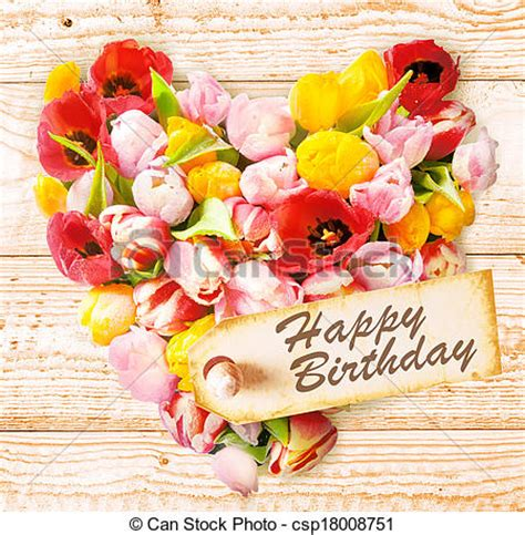 happy birthday stickers shape tulip sentimental floral birthday greeting with a symbolic shaped arrangement of tulips on