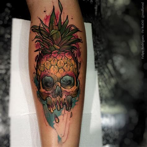 forearm pineapple skull  tattoo design ideas