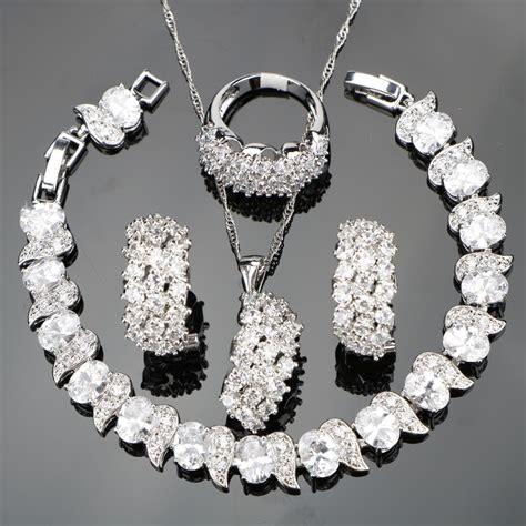 white zircon silver  wedding costume jewelry sets women