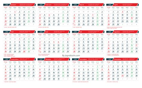 Calendar Template 2019 Template Kalender 2019 Cdr Lengkap Dengan