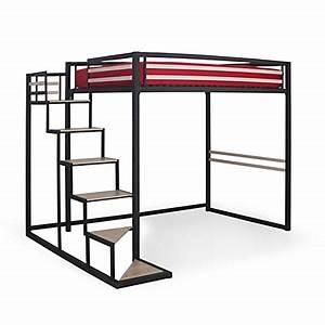 Lit 2 Places Noir : lit mezzanine alin a achat en ligne de lits mezzanine chambre lits literie et linge ~ Teatrodelosmanantiales.com Idées de Décoration