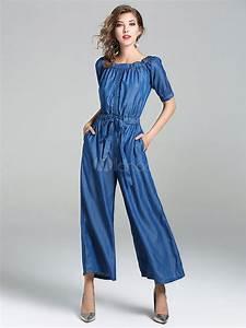 It Denim Size Chart Blue Denim Jumpsuit Off The Shoulder Short Sleeve Women 39 S