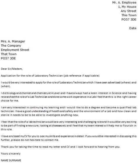 laboratory technician cover letter  icoverorguk