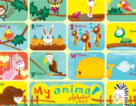 animal alphabet chart  behance