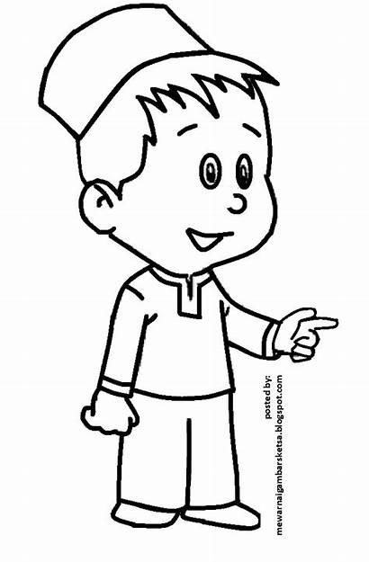 Mewarnai Anak Kartun Sketsa Gambar Muslim Sd