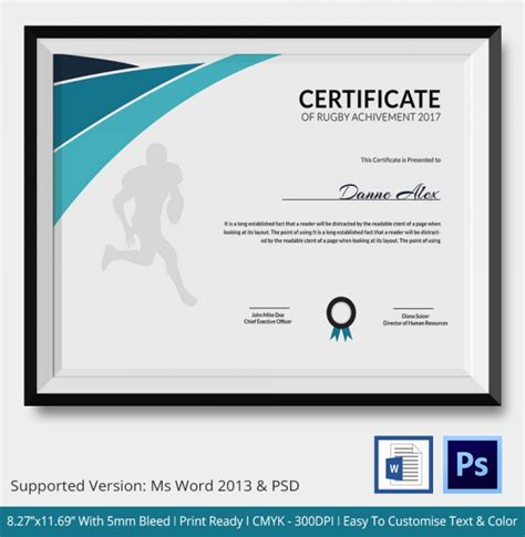 rugby certificate  word psd ai indesign format