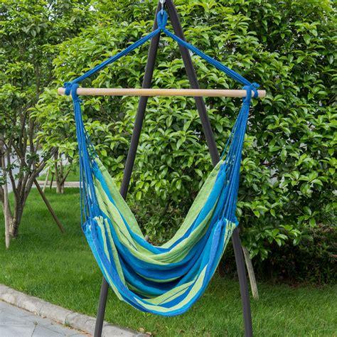 hammock hanging rope chair porch swing seat patio cing portable blue stripe ebay