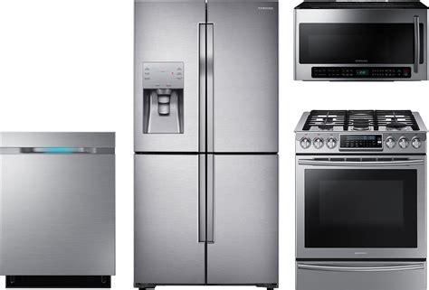 samsung  piece kitchen package  nxhws gas range rfjsr refrigerator