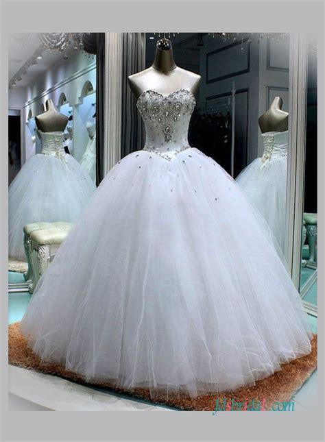 H1345 Sweetheart Neckline White Princess Ball Gown Wedding