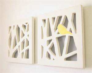 Yellow bird wall art set and gray by