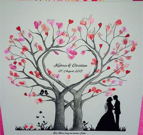 wedding tree herz fingerabdruck baum hochzeit geschenk