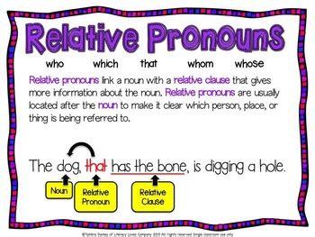 relative pronoun task cards ccss la  literacy