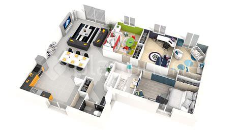 chambre habitat plan maison plain pied 4 chambres 3d