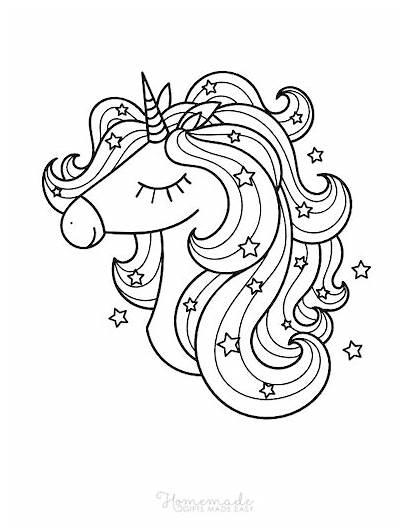Unicorn Coloring Head Stars Easy Magical Adults