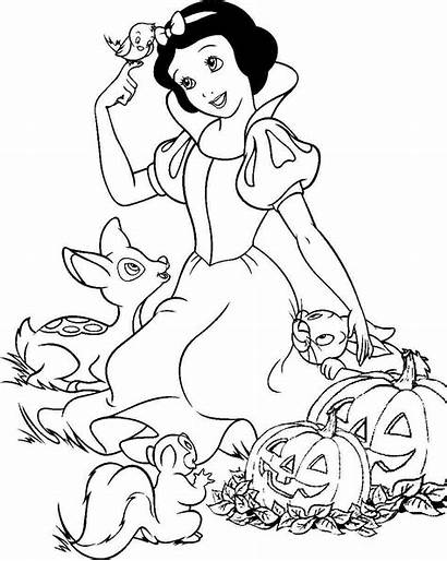 Coloring Snow Princess Disney Printable Halloween Colouring