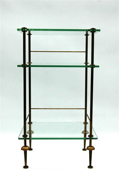 Classic Metal And Glass Multitier Side Table For Sale At