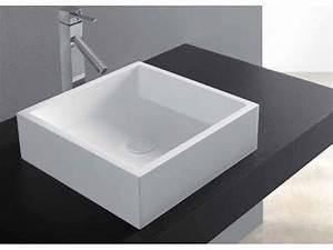 Vasque En Corian : vasques vasque poser vasque type corian 40 x 40 cm en ~ Premium-room.com Idées de Décoration