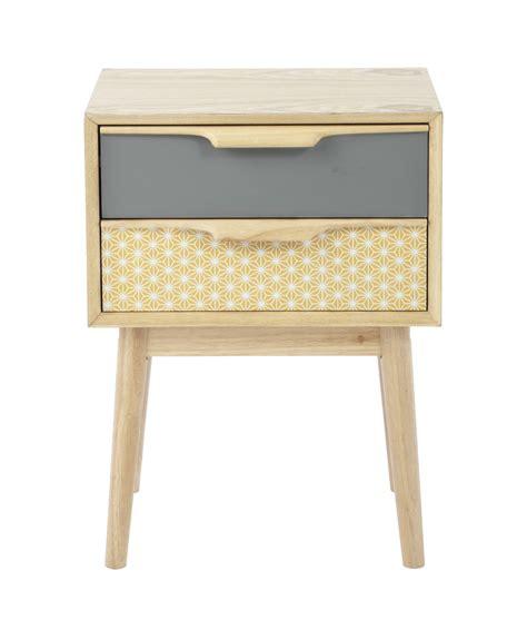 chambre bebe couleur table de chevet vintage avec tiroirs en bois l 42 cm fjord