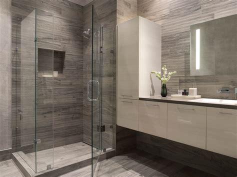 modern bathroom gray white white floating vanity