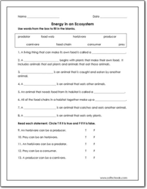5th Grade Science Worksheets Ecosystem  Grasslands Ecosystem Worksheet Education 5th Grade