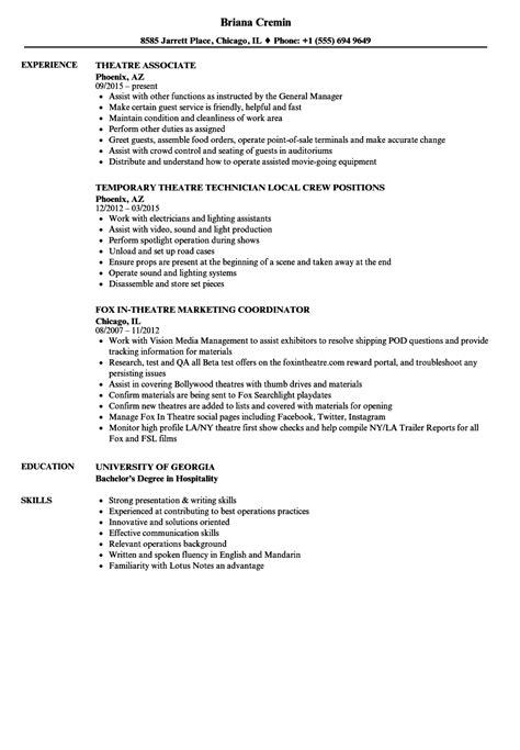 Theatre Technician Cv Template by Resume For Movie Theater Job Annecarolynbird