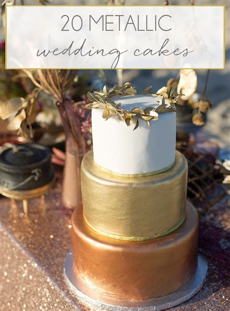 ideas  metallic wedding cakes  pinterest