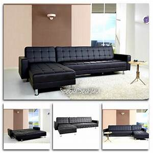 Leather sectional sofa bed sleeper modern couch furniture for Sectional sofa bed ebay