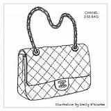 Purse Chanel Bag Handbag Drawing Designer Handbags Bags Sketches Coloring Sketch Drawings Purses Iconic Illustration Outlines Cad Illustrations Sac Borsa sketch template