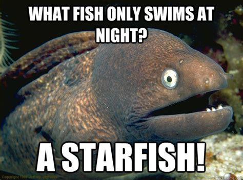 Starfish Meme - what fish only swims at night a starfish bad joke eel quickmeme
