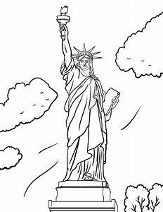 printable statue of liberty coloring page free pdf With statue of liberty drawing template