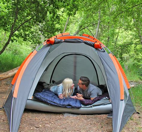 camping tent   inflatable mattress built