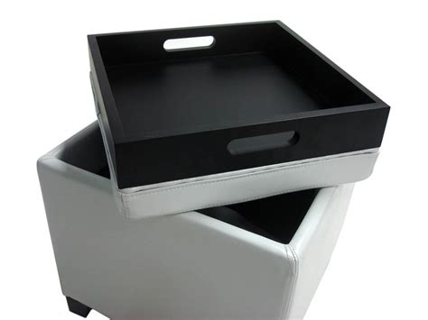 ottoman with storage and tray contemporary storage ottoman with tray white
