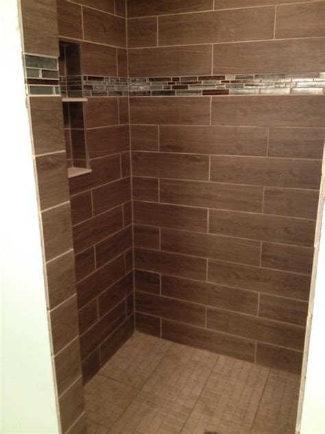 wood tile shower our faux wood tile and glass tile shower