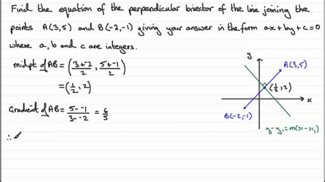 Equation Of A Perpendicular Bisector