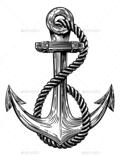 Anchor Vintage Woodcut Style | tattoos | Navy anchor tattoos, Anchor tattoos, Anchor drawings