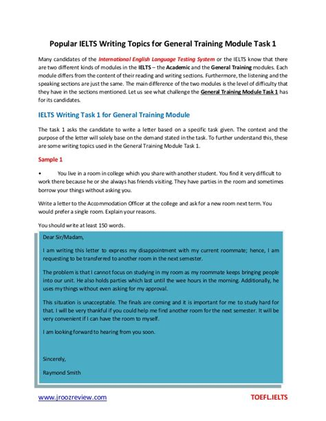 Popular Ielts Writing Topics For General Training Module Task 1