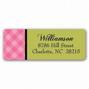 Cool plaid pink return address labels paperstyle for Cool return address labels
