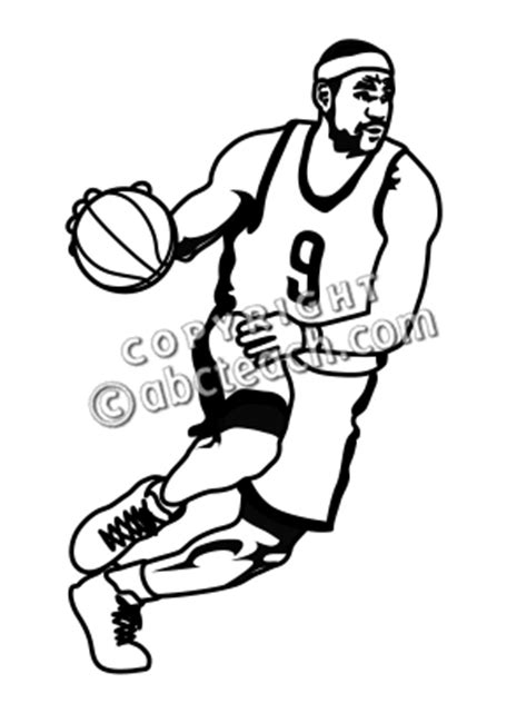 basketball player clipart black and white basketball line drawing clip 38