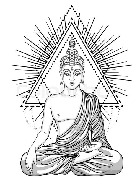 Sitting Buddha over ornate flower. Esoteric vintage vector illustration. Indian, Buddhism