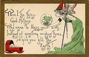 Adorable Vintage Fairy Godmother Birth Blessing Postcard ...
