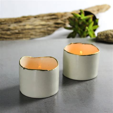 ceramic candle holders ceramic candle holder set of two white with gold line